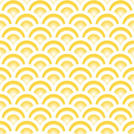 Traditional yellow Japanese seamless pattern mermaid scales. Vector illustration.