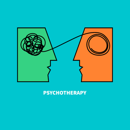 Logo psychotherapy. Two heads with confusing tangle of threads. Vector illustration. Vector illustration Vettoriali
