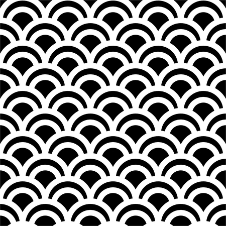 伝統的な黒と白の日本シームレス パターン人魚スケールです。ベクトルの図。