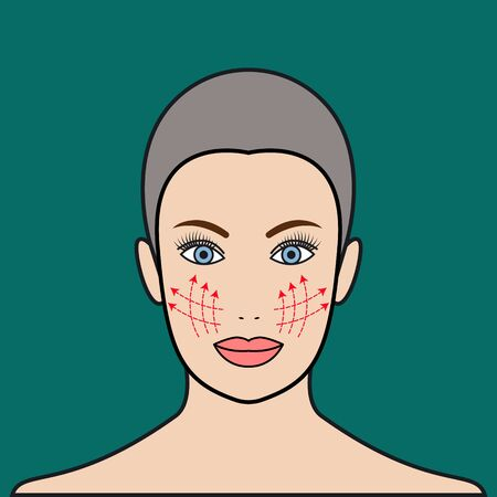 Beauty injections, cosmetic thread in face, plastic surgery, lift of face.