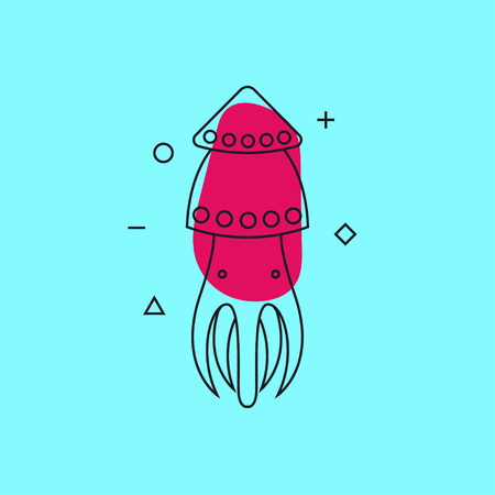 Squid. Line contour modern trend icon, logo, card, banner seafood. Vector illustration. Illustration