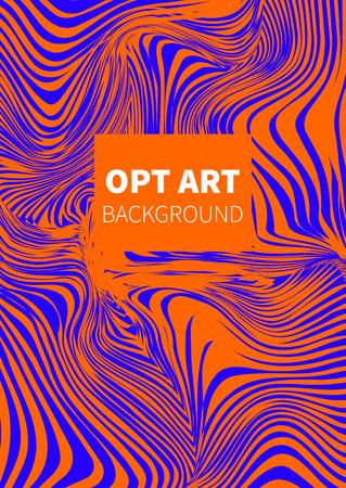 Opt art. Hipster orange and blue vector card, banner, flyer.