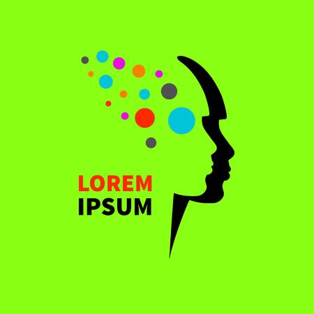 Logo creative thinking. Icon intelligence. Female head, pofil with flying roundels. Vector illustration.