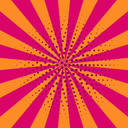 an outburst: Cartoon retro pink and orange pop art card, banner, flyer with rays. Vector illustration of explosion, burst.