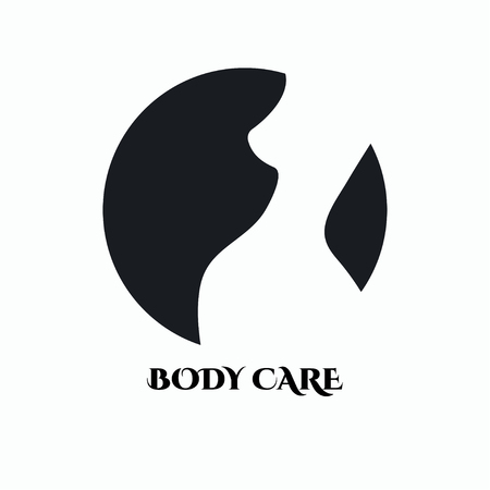 Silhouette of beautiful female body on black background. Logo, icon body care. Vector illustration.