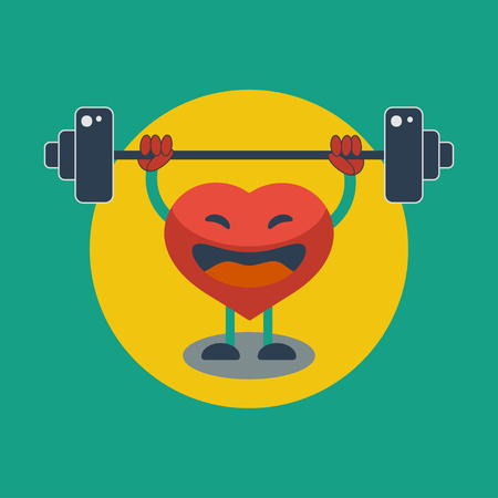 Strengthening heart muscle. Healthy way of life. Heart raises  bar. Vector graphic design Illustration
