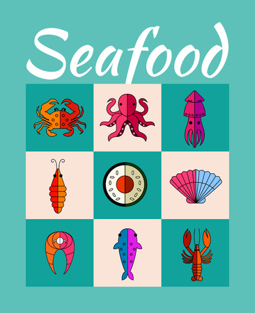 crab meat: Set of seafood with squid, shrimp, octopus, fish, lobster, shell, crab. Vector graphic design