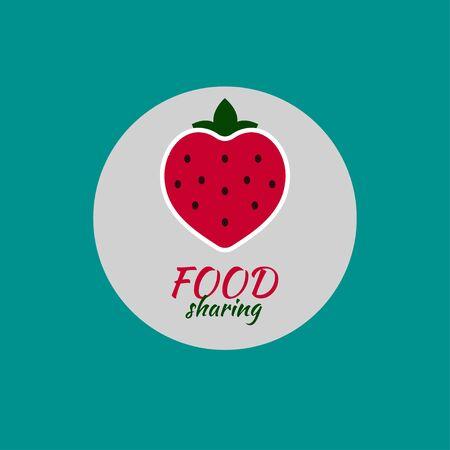 Logo foddshering. Red icon strawberries. Vector illustration