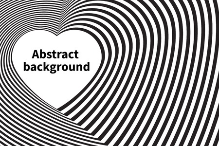 opt: Optical illusion - background with heart stripes. Vector illustration