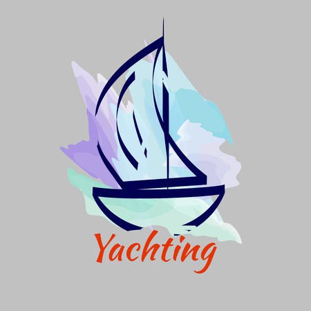 Watercolor sketch of yacht on  background of sky. Logo yacht club. Vector illustration  イラスト・ベクター素材
