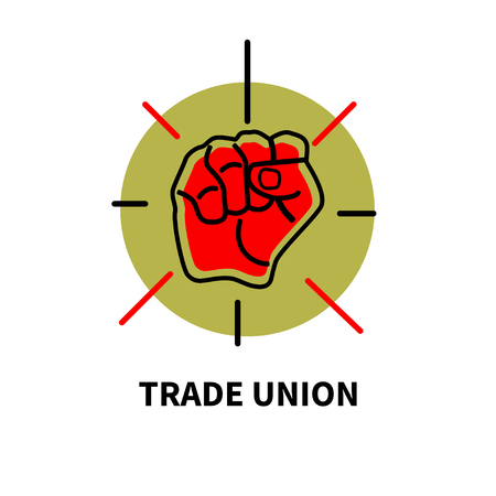 Symbol of trade union movement. Poster with raised red fist. Vector illustration Illustration