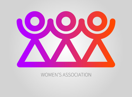 Logo womens association, club, union. Icon of sorority. Vector illustration Illustration