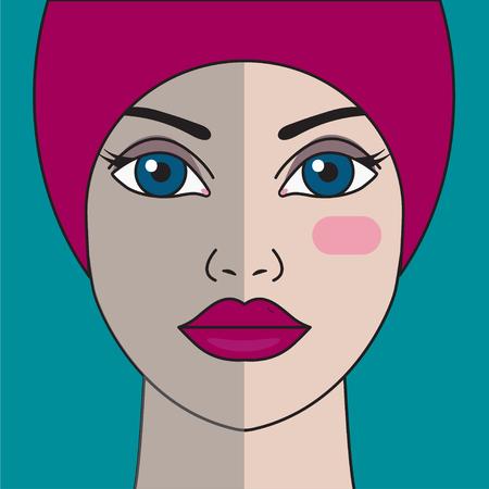 Poszarzała cera. Ochrona skóry. Portret pięknej dziewczyny. Serum przed i po zabiegu. Projekt grafiki wektorowej