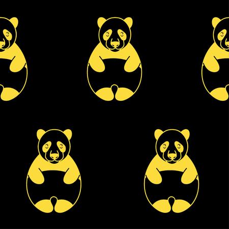 patrón transparente de vector caras de oso panda en un fondo verde