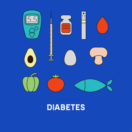diabetes syringe: Set of icons diabetes. Food for diabetes - egg, tomato, avocado, mushrooms, fish. Glucometer, syringe, insulin, blood. Vector illustration. Illustration