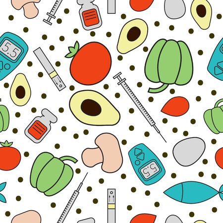 Bezszwowe wzór na temat cukrzycy. Warzywa, pomidor, pieprz, grzyby, jajko, ryby, awokado, glukometr, krew, strzykawka, insulina. Ilustracji wektorowych.