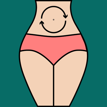 Massage abdomen clockwise for weight loss, pain relief. Vector illustration.