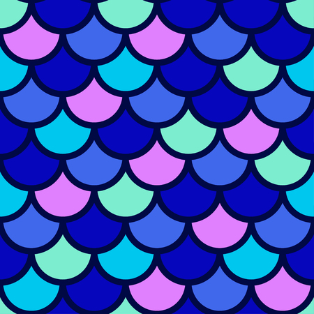 Traditional Japanese seamless pattern. Blue bright colored fish squama. Mermaid scales. Stock vector