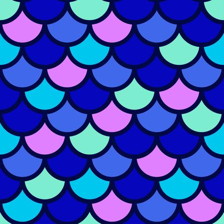 Patrón sin fisuras japonés tradicional. Escama de peces de colores brillantes azules. Escamas de sirena. Vector stock