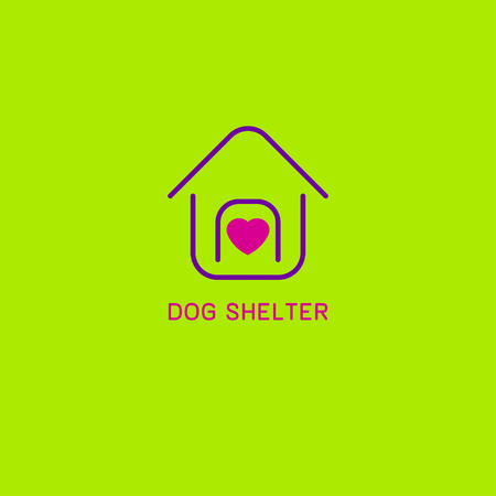 Icon shelter for pets. Linear dog house with heart inside. Logo of charitable organization. Vector illustration