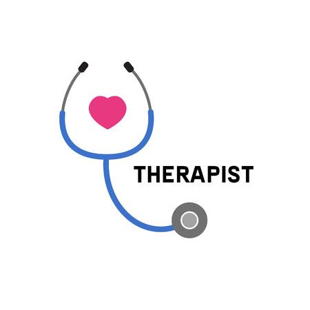Logo lekarz. Ikona terapeuta, kardiolog. Stetoskop. Ilustracji wektorowych