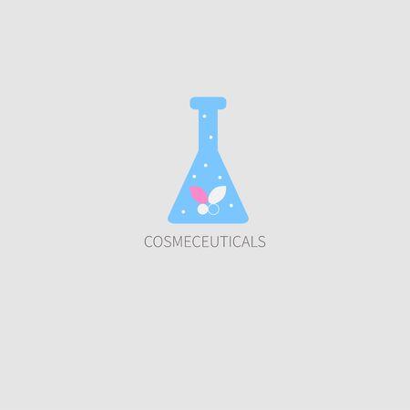 Icono de color, logo de cosméticos médicos. Mariposa en tubo de ensayo. Ilustración vectorial Foto de archivo - 84888384