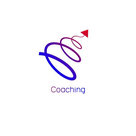Logo, icon coaching. Vector spiral arrow flying up