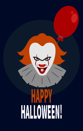 Scary clown with red balloon. - Stock vector Illustration