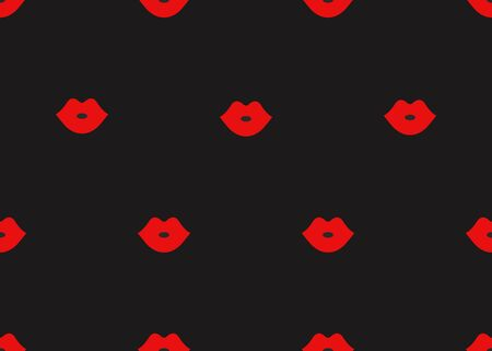 Seamless pattern of cartoon red lips on black background. Banner fashion, makeup, cosmetics. - Stock vector