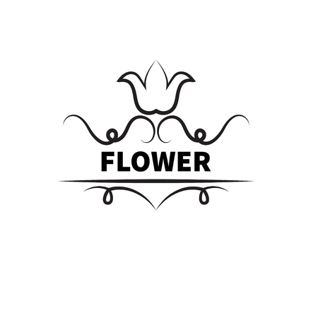 Flower with swirls isolated on white background. Sign for flower shop. - Stock vector