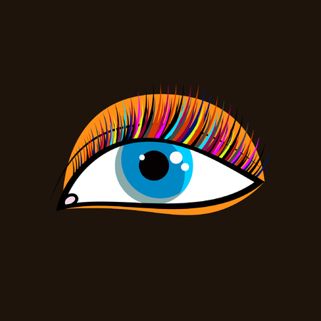 Icon fashion blogger. Blue eye with shadows and colored eyelashes. Logo of makeup artist. Vector illustration