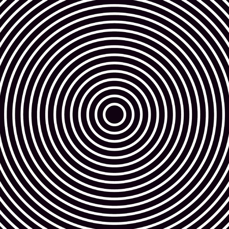 Black and white opt illusion of radial circles. Poster optical illusion. Vector illustration