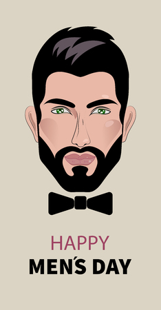 Mens day. Card, banner with male person and black bow tie. Vector illustration