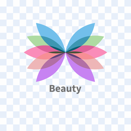 Icon, logo beauty salon - abstract butterfly, petals, flower isolated on transparent background. Vector illustration Illustration