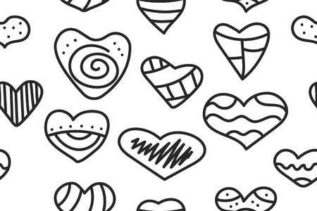 Seamless pattern with hipster doodle hearts. Abstract background to valentines day - set hand drawn hearts. Vector stok