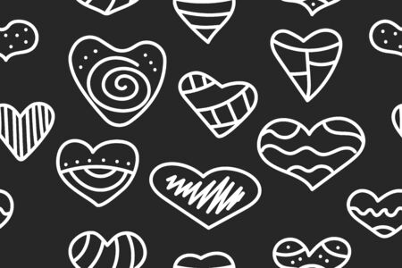 Seamless hipster black and white pattern with doodle hearts. Abstract background to valentines day - set hand drawn hearts. Vector stok