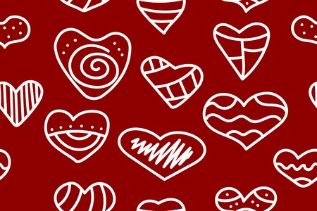 Seamless red pattern with doodle hearts. Abstract background to valentines day - set hand drawn hearts. Vector stok Çizim