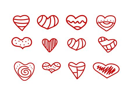 Hand drawn icons set of hearts. Doodle hearts with patterns isolated on white. Elements to valentines day. Vector stok