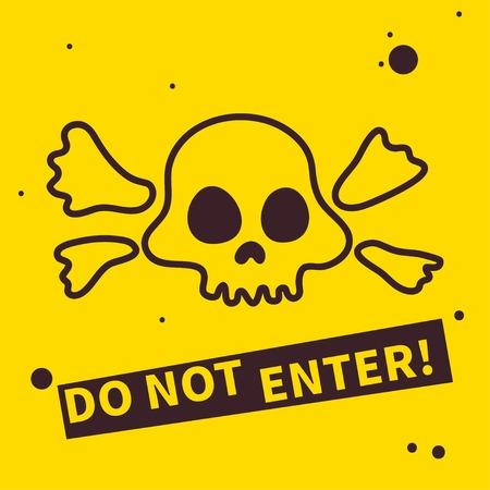 ポスター、カードという手の描かれたドクロマーク、入力しないでください。バナー、標識、危険、禁止のシンボルです。ベクトル図  イラスト・ベクター素材