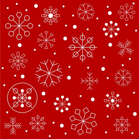 Christmas Red Background Seamless Pattern With Geometric Hipster Snowflakes Winter Card Snow