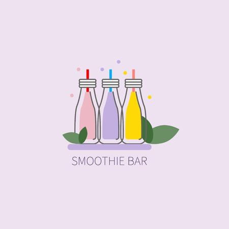 Smoothie bar. Icon vegan smoothie restaurant. Jars with straws. Vector illustration Illustration