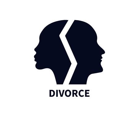 顔の女性と男性のプロファイルは、異なる方向に向かいました。争い、離婚、紛争の象徴。セラピストのアイコン。頭の男女の黒いシルエット。ベ