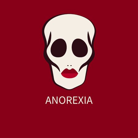 Female face with sunken cheeks and eye sockets. Symbol of thinness, anorexia. Deadly weight loss. Vector illustration