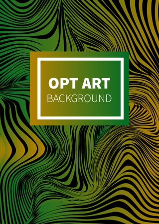 Poster in style of optical illusion. Opt art banner, flyer, template, card, invitation. Background with distorted lines. Vector illustration