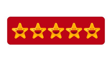 Bord met vijf sterren. Begrip waardering, meningen, evaluatie. Vector illustratie Stock Illustratie