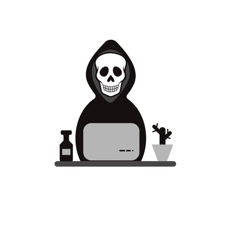Icon hacker. Death works at computer. Data theft, security, hack. Vector illustration Illustration