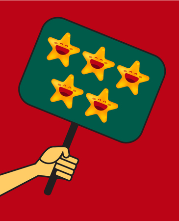 Hand holds plate with five stars. Concept of rating, opinions, evaluation. Vector illustration Stock Illustratie
