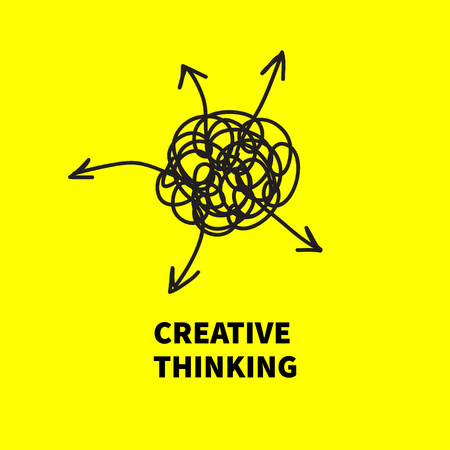 Creative thinking. Сoncept of brainstorming. Chaos arrow out, search business solutions. Vector illustration