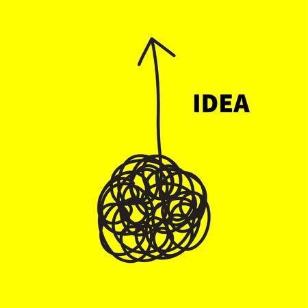 Conceito de ideia de caos. Esboço labirinto com seta para cima. Ilustração vetorial Foto de archivo - 93196544