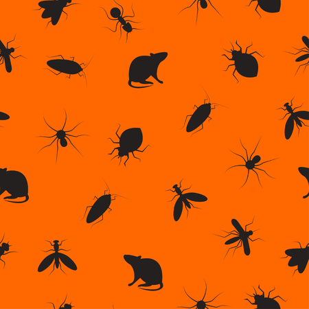 Seamless pattern insects and rodents pests. Color background for service of pest control. Web banner with cockroaches, rats, spiders, ants, bed bugs, mosquitoes, mosquitoes. Vector illustration Illustration